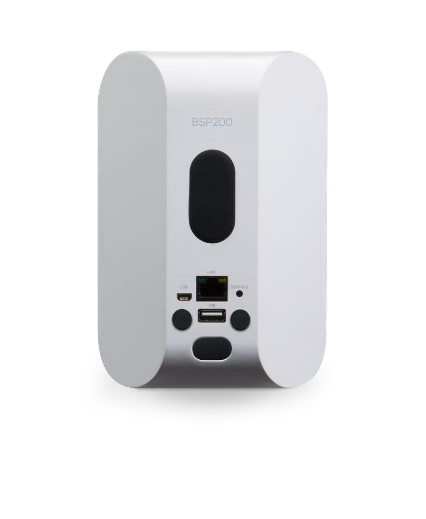 Back of a White BSP200 Network Streaming speaker